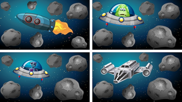 Set von raumschiffen und asteroiden