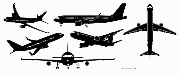 Set von realistischen flugzeugmodellen oder landungen und starts für kommerzielle flugzeuge oder flugzeuge
