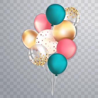 Set von realistischen glänzenden metallischen und transparenten ballons