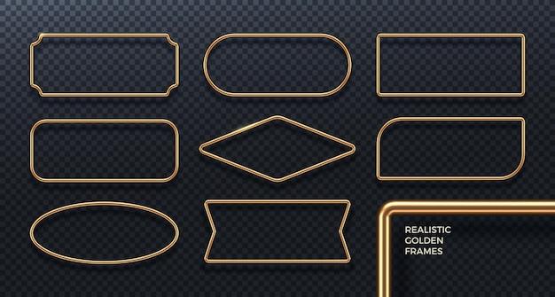 Set von realistischen goldenen metallrahmen 3d goldene geometrische banner