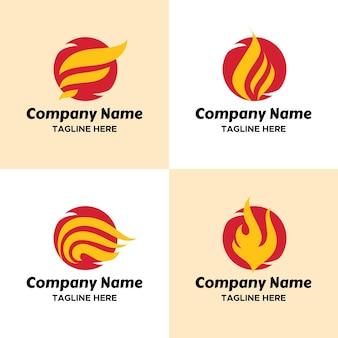 Set von red fireball mit gelben flügeln logo-vorlage für unternehmen im sportlichen look