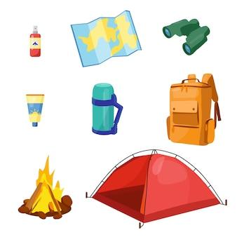 Set von reiseartikeln für die erholung sammlung von gepäckelementen für den reisevektor