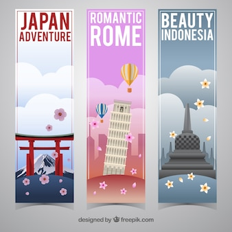 Set von reisebannern in verschiedenen ländern
