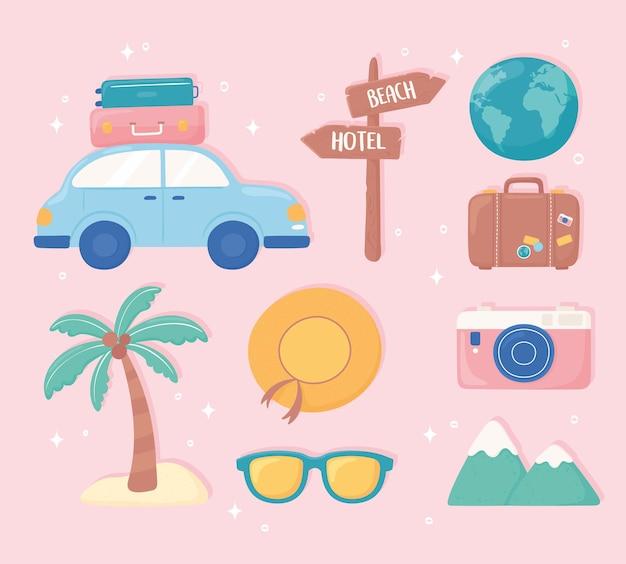 Set von reisekarikaturen