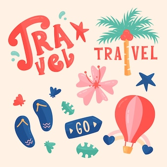 Set von reisenden aufklebern im 70er jahre stil
