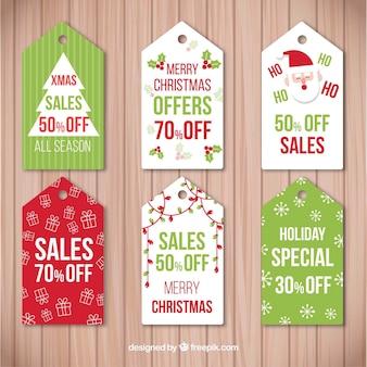 Set von retro-aufkleber für weihnachtsgeschäft