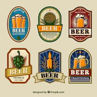 Set von retro-bier-aufkleber