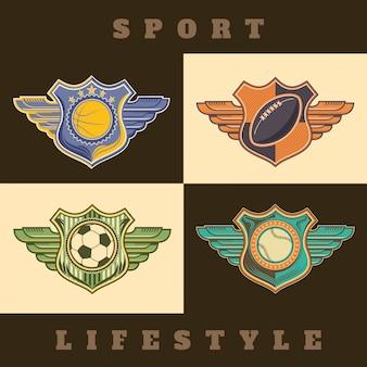 Set von retro-emblemen
