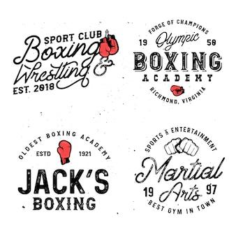Set von retro-logo-vorlagen mit box- und mma-motiven im vintage-stil mit grunge-effekt.