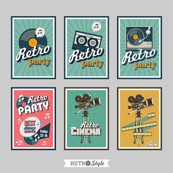 Set von retro-postern. retro-partys. retro-kino.