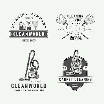 Set von retro-reinigungslogo-abzeichen-emblem