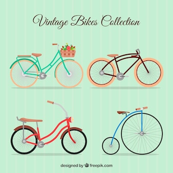 Set von retro schönes fahrrad