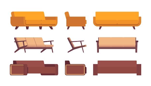 Set von retro-sofas