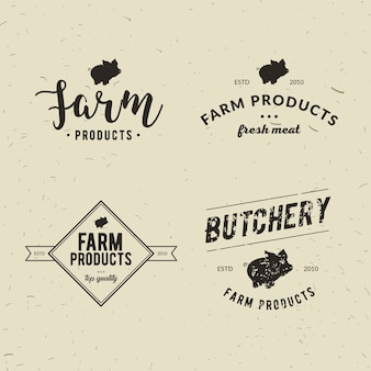 Set von retro-stil metzgerei logo-vorlagen