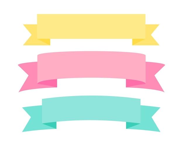 Set von ribbon banner label collection design vector illustration