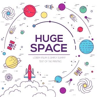 Set von riesigen universum infografik