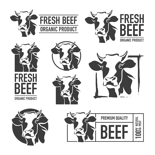 Set von rindfleisch logo