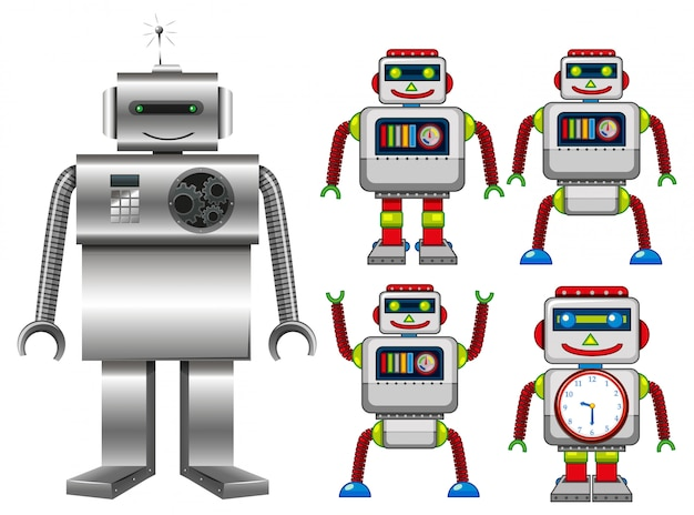 Set von roboter-spielzeug