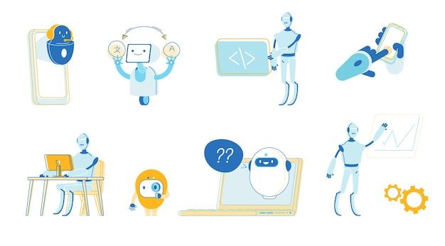 Set von robotern helfen menschen im leben, im büro zu arbeiten