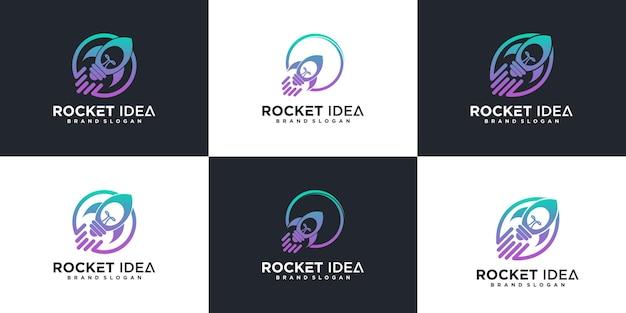 Set von rocket-logo-design-inspiration mit coolem glühbirnen-konzept premium-vektor