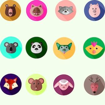 Set von runden icons mit verschiedenen wilden und haustieren, flache stil vektor-illustration