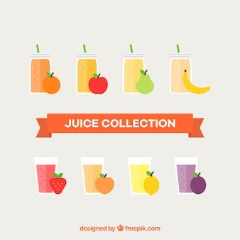 Set von säften mit verschiedenen früchten
