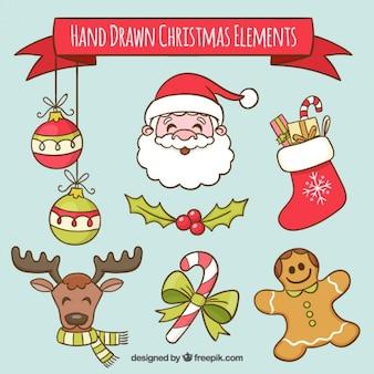 Set von santa claus und gezeichnet weihnachten hand dekorationselemente
