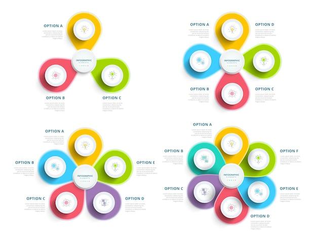 Set von sauberen, minimalistischen geschäftsschrittprozessdiagrammen mit schrittkreisen firmenpräsentation