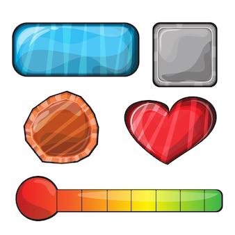 Set von schaltflächen, helle schaltflächen in verschiedenen formen für spiele - elemente für die spieloberfläche