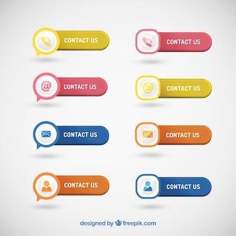 Set von schaltflächen mit kontaktsymbolen