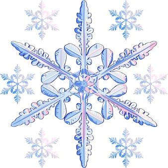 Set von schneeflocken am detailliertesten und klein stilisiert