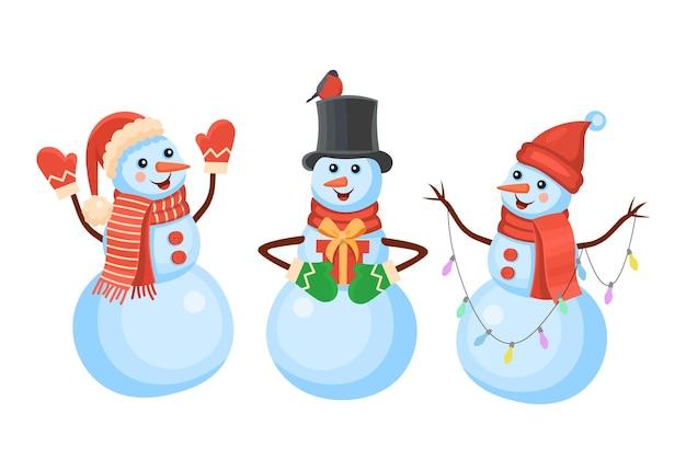 Set von schneemännern in mützen und schals konzept des winter- und weihnachtsbanneraufklebers