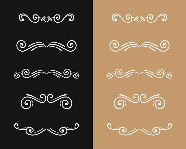 Set von schnörkel vintage luxus retro-stil goldenen ornament teiler strudelrahmen verzierte gold grenze kunst elegantes dekor für titel und lehrbuch linie