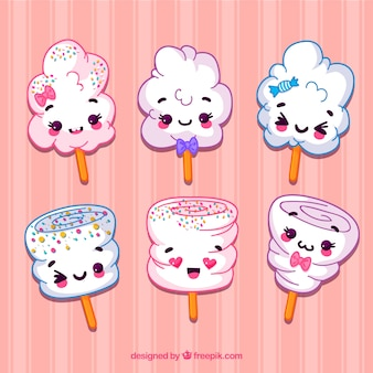 Set von schönen hand gezeichneten süßigkeiten baumwolle