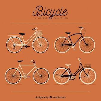 Set von schönen oldtimer fahrräder
