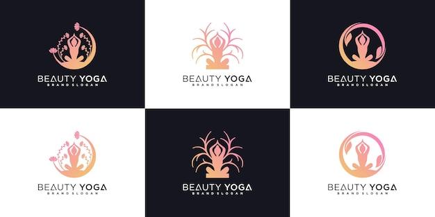 Set von schönheitsyoga-logo-design mit frauenmeditationskonzept in der natur und visitenkarte premium-vektor