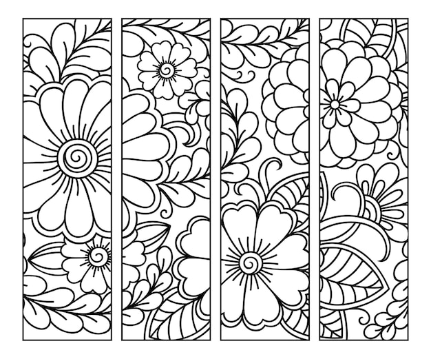 Set von schwarzen und weißen blumenkritzeleien im mehndi-stil.