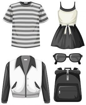 Set von schwarzen und weißen outfits