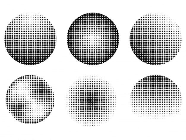 Set von sechs abstrakten halftone-effekt-design-elemente, creative raster punkte muster sammlung in schwarz und weiß.