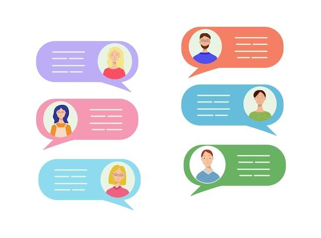 Set von sechs avataren verschiedener männer und frauen in bunten sprechblasenillustrationen