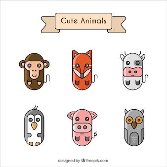 Set von sechs geometrischen tiere