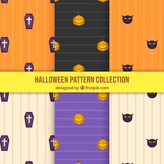 Set von sechs halloween-mustern mit streifen