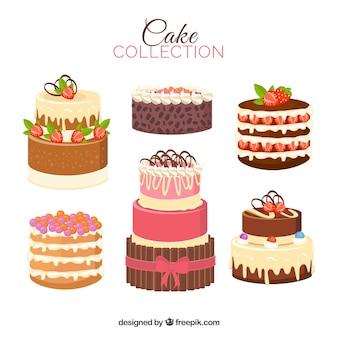 Set von sechs kuchen