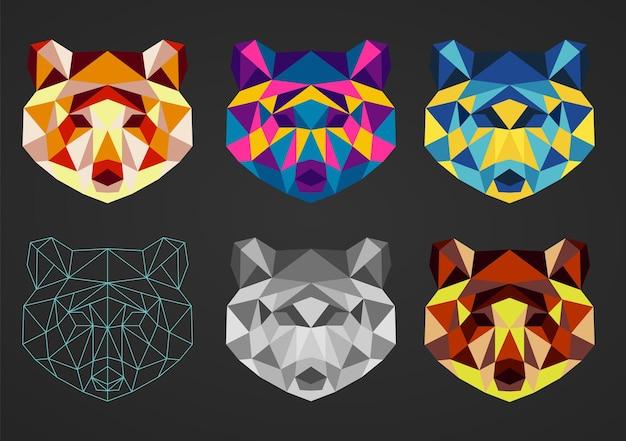 Set von sechs polygonalen geometrischen bunten bärenkopf-sammlungstieren für design-drucklogo