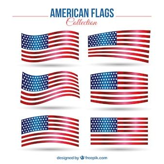 Set von sechs realistischen flaggen der vereinigten staaten