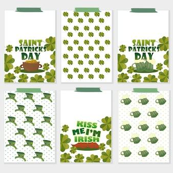 Set von sechs st. patricks day karten mit biergläsern, klee, goldschatz, hut, schnurrbart. perfekt für urlaubsgrüße, drucke, plakate