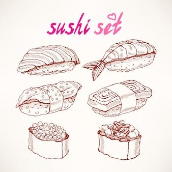 Set von sechs verschiedenen arten von köstlichen handgezeichneten skizzen-sushi