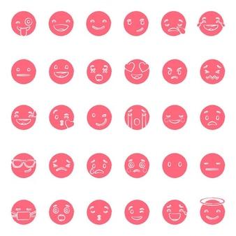Set von sechsunddreißig rot emoticons