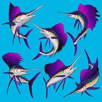 Set von segelfischen für die gamefish-bundle-sammlung