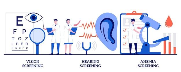 Set von seh-, hör- und anämie-screening, pädiatrische untersuchung